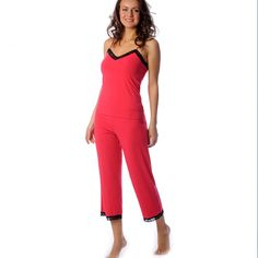 b6e6afd8d7dc Eco-Friendly Lace Capris in Raspberry Red