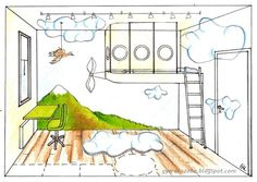 Gyerekszoba tervező és lakberendező - Gere Krisztina - Dekorációs fal-festő/festés: Közlekedés 3. (Légi: űrjárgány, lufi, irányítóközpont, léghajó) - Repülő dekoráció - Gyerekszoba hangulat - A megvalósítható álom