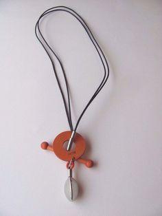 Aarikka Finland Orange Wooden Necklace with Silver coloured metal decorations #Aarikka