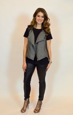 Leather leggings and a tweed vest. Easy outfit in black.