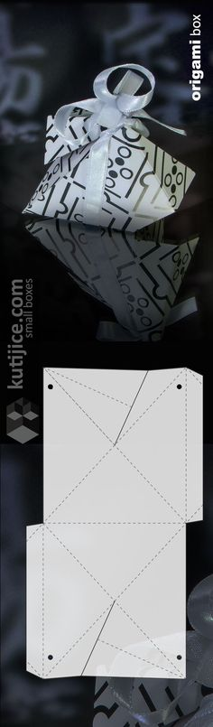 """Origami box - original 6-triangle-sided box, with decorative """"wings""""  (closed with silk ribbon)"""