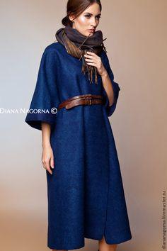 """Авторское пальто из мериносовой шерсти """"Navy blue"""". Handmade. #felting"""