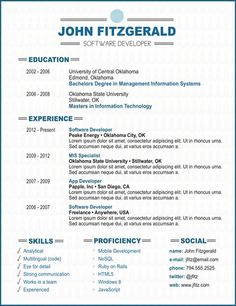 resume templates on Pinterest | Resume, Marketing Resume ...