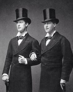 Male Victorians Two Dapper Men Edwardian Victorian Top Hats Well Dressed Same Sex Couple Gay Vintage Wedding Card Digital Downladable File by EclecticForest on Etsy https://www.etsy.com/listing/259101949/male-victorians-two-dapper-men-edwardian