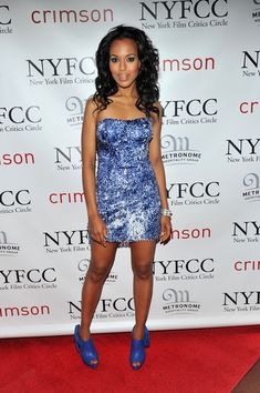 2010 New York Film Critics Circle Awards: Blue & White Sequin Alberto Makali Mini Dress with electric blue peep toe ankle boots.