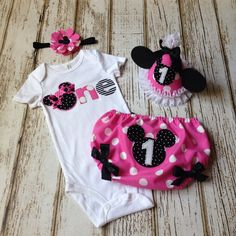 """Minnie Mouse Pink and Black """"One"""" First Birthday Onesie with Diaper Cover - Cake Smash, Photography Prop by Polkadotologie on Etsy"""
