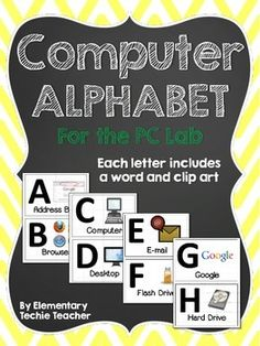 This file contains alphabet cards (A-Z) with computer related words. It looks great hanging in the front of a computer lab! Full pages and half pages included! I have also added a black and white version that teachers can use as colors sheets. Elementary Computer Lab, Computer Lab Lessons, Computer Lab Classroom, Computer Teacher, Computer Science, Elementary Schools, Computer Literacy, Teaching Computers, School Computers
