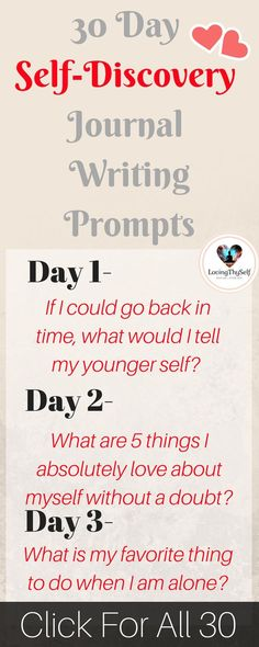 a 30 day daily self-discovery journal writing prompts for adults, for teens, for therapy. These journal prompts will help find happiness, self-love, and creativity! Journal Prompts For Teens, Journal Topics, Journal Writing Prompts, Journal Quotes, Journal Entries, Journal Quotidien, Journal Challenge, 30 Day Writing Challenge, 30 Tag