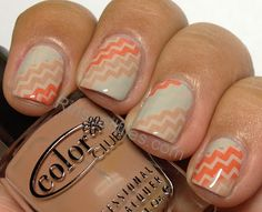 southwestern print zigzag manicure in turquoise, orange and tan over pale beige polish