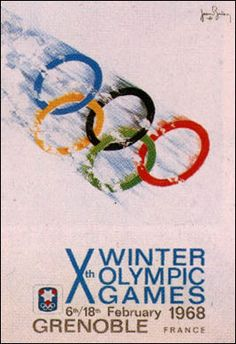""""""" in 1968 the Winter Olympics in Grenoble, France held their opening ceremony. Norway won 14 medals to top the table. Figure skater Peggy Fleming won the only U. Winter Olympic Games, Winter Games, Winter Olympics, 1968 Olympics, Vintage Ski Posters, France, Winter Sports, Skiing, Sports Posters"""