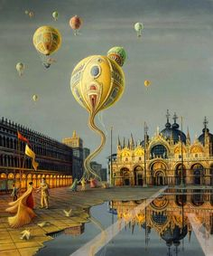 I love this surrealistic Venetian piazza painting by Brigid Marlin. #art #piazza #surrealistic #painting #gold #venice