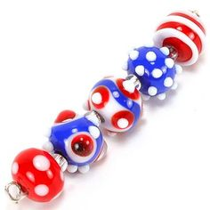 Red White & Blue Lampwork Beads