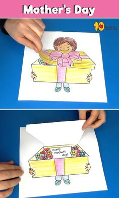 Surprise Box for Mother's Day – Paper Craft geschenkideen Surprise Box for Mother's Day - Paper Craft Mothers Day Cards, Happy Mothers Day, Flower Images Hd, Diy For Kids, Crafts For Kids, Mother's Day Printables, Surprise Box, Surprise Gifts, Craft Images