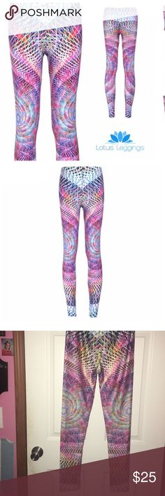 Lotus Leggings Twisted Circle Leggings! Can you handle a print this intense? These Twisted Circles Leggings offer a comfortable and supportive fit that's perfect for any occasion, whether you're going out or staying in. The mind-bending design will definitely turn some heads. Show off your unique style with this amazing print! These are brand new and never worn!   Polyester-spandex blend. Lotus Leggings Pants Leggings