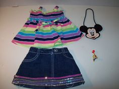 Build A Bear Clothing~Striped Shirt~Denim Skirt~Mickey Mouse Purse~Bear Pin~B2 #BuildABear #AllOccasion