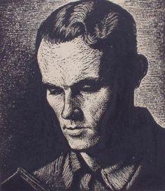 Welsh poet, Alun Lewis, by John Petts, 1941 (wood engraving)