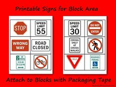 Printable Safety Signs for Block Area Nuttin& But Preschool Creative Curriculum, Preschool Curriculum, Preschool Activities, Block Center Preschool, Preschool Centers, Transportation Theme, Preschool Transportation, Block Play, Center Signs