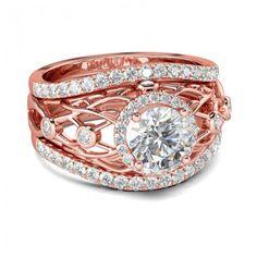 Jeulia Rose Gold Tone 3PC Halo Round Cut Created White Sapphire Wedding Set 2.07CT TW - Jeulia Jewelry