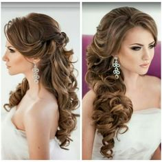 6 + Hot Hochzeitsfrisuren Ideen Hot wedding hairstyles ideas wedding hair down hair # Wedding Hair Side, Curly Wedding Hair, Long Hair Wedding Styles, Wedding Hair And Makeup, Bridal Hair Side Swept, Side Swept Curls, Hair Makeup, Side Hairstyles, Wedding Hairstyles For Long Hair