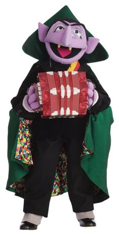 Count Von Count playing a concertina.