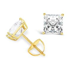 14K Solid Yellow Gold Princess Cut Cubic Zirconia Stud Earrings with screw back posts (2.0 ctw, Diamond Equivalent), Velvet Gift Box -- Learn more by visiting the image link.