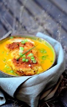 Ein Brown-Tabelle: Siehe Geschmack Love: Squash-Suppe mit Joghurt panko verkrusteten Huhn