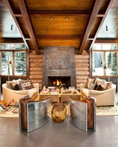 Architecture Design, Cabins In The Smokies Wooden Roof Top Fire Place Area Moody Cabin 5: Excellent Mountain Lodge Blending Modern also Rustic Details in Colorado  Moody Cabin