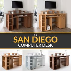Panana Computer Desk Wooden Office Desk Study Workstation PC Laptop Table with Door for Home Office Walnut