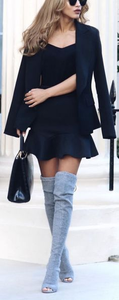 #fall #outfits / gray knee-length boots + black dress