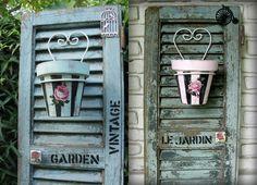 LE JARDIN (VENDIDA)                GARDEN VINTAGE                        Dos antiguas persianas recicladas.  Muy decorativas! Para la galerí... Decoupage Wood, Chalk Paint, Bottle Opener, Repurposed, Barware, Patio, Projects, Painting, Vintage