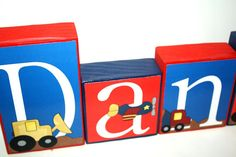 Daniel Trucks Collection Name Blocks  Rough and Tough boy theme - construction trucks - airplanes - cars and trucks - baby boy name - nursery decoration - transportation room