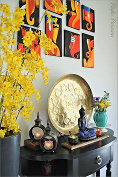 Entrance, Foyer, Foyer décor, Foyer décor setting, Foyer styling, Global decor, Home entrance, Home foyer, Indian brass décor, Indian Decor, Indian Inspired Decor, My home, traditional décor, Indian entryway, Indian entance