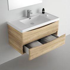 meuble salle de bain 90 cm chene