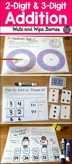 These 2-digit and 3-digit addition write and wipe games make great self checking math centers!  These activities really helped my 2nd graders to master regrouping!