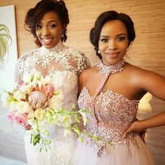 Image may contain: 2 people African Bridesmaid Dresses, Lace Bridesmaids, African Fashion Dresses, African Dress, Glam Dresses, Flower Girl Dresses, Blush Gown, South African Weddings, Party