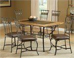 Hillsdale Lakeview 7-Piece Rectangle Dining Set with Slate Chairs by HILLSDALE-HOUSE. $899.00. Enjoy one another's company for an evening of romantic music with this Hillsdale Lakeview 7-Piece Rectangle Dining Set with Slate Chairs. Nothing could be more satisfying than a candlelit meal seated at a table as trendy as this. Take the time to enjoy the cushioned brown faux leather covered seats with foundations built from heavy gauge tubular steel. The set yields an ove...