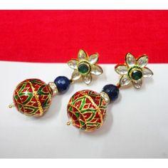 Kundan and Meena Earrings