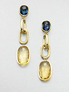 Marco Bicego Blue Topaz, Citrine & 18K Yellow Gold Drop Earrings