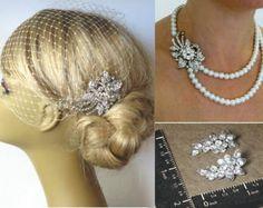 BRIDAL SET - bridal pearl necklace , Hair Comb and Earrings Bridal Pearls Necklace Pearl Bridal Necklace Bridal Necklace Wedding Jewelry