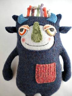 Sweater Monster Stuffed Animal Repurposed by sweetpoppycat on Etsy