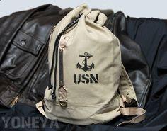 米海軍USNキャンバス地2ストラップダッフルバッグ・新品
