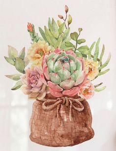 Watercolor cacti and succulents in pot bag sack Premium Vector Watercolor Succulents, Watercolor Cactus, Watercolor Paintings, Succulents Art, Cactus Art, Cactus Flower, Tropical Flowers, Creation Deco, Cactus Y Suculentas