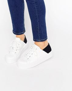 Image 1 of ASOS DOWNTOWN Lace Up Flatform Sneakers