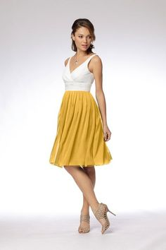 two toned white and yellow, similar to bridesmaid dresses, but different top.