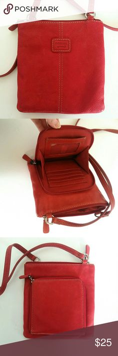 "Fossil Crossbody Bag Red Fossil Crossbody Bag. Roughly 8"" x 8"". Interior card holder section. Some minor wear. Good condition. Fossil Bags"