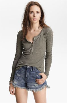 Free People Lace Trim Henley available at #Nordstrom (size large-FP thermals tend to run small) in soft yellow or turquoise