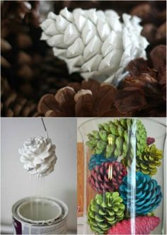 Color Pinecones. http://www.diyncrafts.com/8912/decor/10-genius-diy-ways-transform-pinecones-holiday-decorations