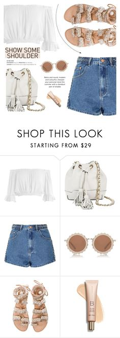 """""""Off Shoulder Top - Show Some Shoulder"""" by fashion-bea-16 ❤ liked on Polyvore featuring Sans Souci, Rebecca Minkoff, Glamorous, House of Holland, Elina Linardaki, contest, polyvorecontest and showsomeshoulder"""