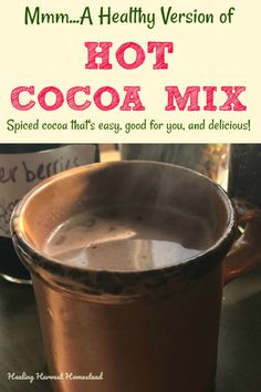 Mmmm. Spiced hot cocoa mix: That's what you need to warm you up on a chilly day! And if it's still warm out? Well, then you can ice it, too. Find out how to make this healthy and easy hot chocolate blend mix with my recipe using herbs and spices. You'll make this over and over! #hotchocolate #chocolate #chocolatedrink #healthydrink #healthy #spicy #cocoa #drink #mix #blend #chocolaterecipe #recipe #fall #falldrink #hotdrink