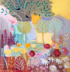 Original Acrylic Painting on Canvas - Garden - Signed Annabel Burton